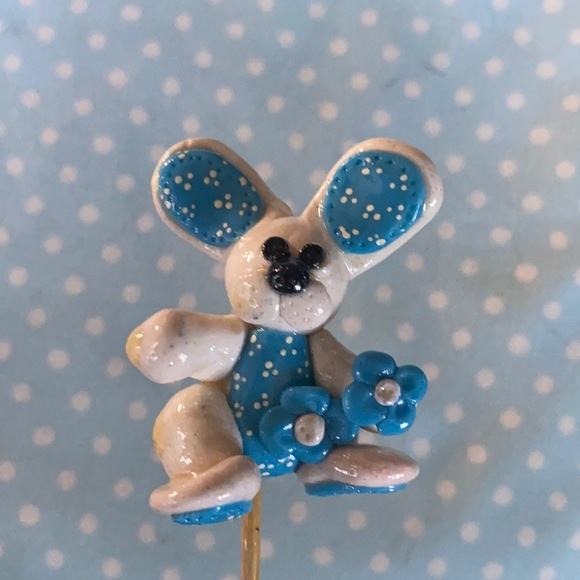 Handcrafted; Clay; Blue; Bunny; Plant Stick